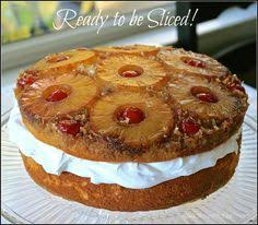 double stacked pineapple upside down cake with toasted coconut and