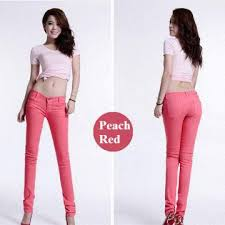sexy color pink color girls sexy elastic jeans 1 fabric cotton with elastic 2