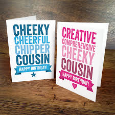 cousin birthday card personalised birthday card for cousin by a is for alphabet