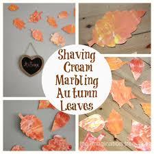 shaving cream marbling autumn leaves the imagination tree