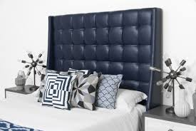 Bed In Living Room St Tropez Bed In Navy Faux Leather Modshop