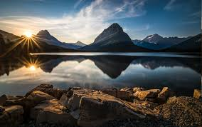 nature lake reflections wallpapers nature landscape glacier national park lake reflection sunset