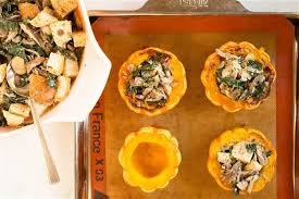 Thanksgiving Vegetarian Main Dishes - vegetarian thanksgiving mushroom and kale stuffed squash today com
