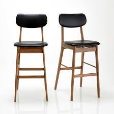 chaise de bar lot de 2 watford noyer noir la redoute interieurs