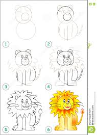 lion drawing for kids step by step