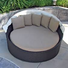 Patio Daybeds For Sale Modern Round Resin Wicker Outdoor Daybed With Detachable Canopy Of
