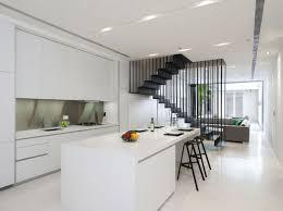 minimalist kitchen design with all white scheme also compact