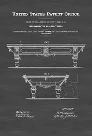 pool table patent 1872 patent print wall decor billiard room