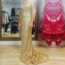new arrival long prom dress gold sequins keyhole back with open