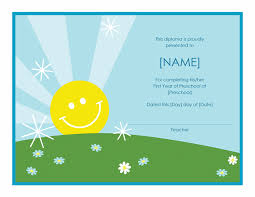 preschool diploma certificate sunshine design office templates