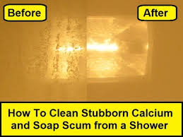 how to clean stubborn calcium and soap scum from a shower youtube