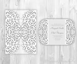 laser cut wedding invitation template lace fold card pattern
