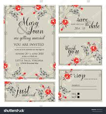 wedding invitation thank you card save stock vector 142870525