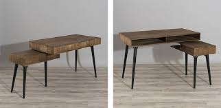 bureau bois recyclé bureau pivotant en teck recyclé design scandinave