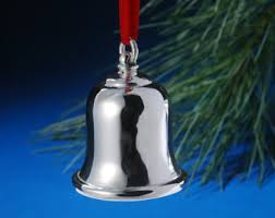 silver bell ornament etsy