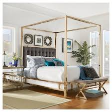 Gold Canopy Bed Manhattan Chagne Gold Canopy Bed Charcoal Inspire Q