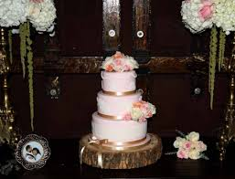 rock star pastries blush wedding cake with white lace and gold