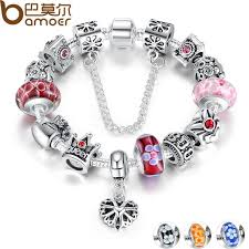 beads charm bracelet images Bamoer queen jewelry silver charms bracelet bangles with queen jpg