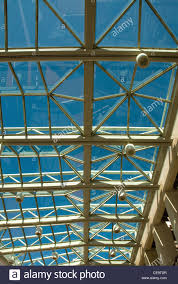 the glass and metal framed roof above the entrance foyer of stock