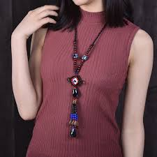 beads knots necklace images New ethnic jewelry ceramic beads long rope chain necklace national jpg