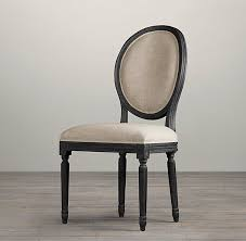 Restoration Hardware Bistro Chair Vintage French Round Upholstered Side Chair Fabric Arm U0026 Side
