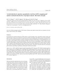 Qtl Mapping An Introduction To Markers Quantitative Trait Loci Qtl Mapping