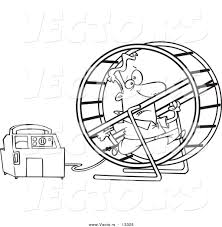 vector of a cartoon man running in a wheel to power a generator
