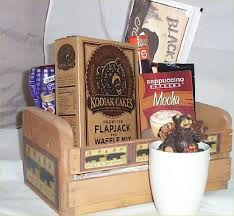 Breakfast Gift Baskets Bear Kodiak Pancake Breakfast Wood Crate Gift Basket Bacon Coffee