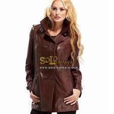 ladies leather jacket genuine brown leather coat