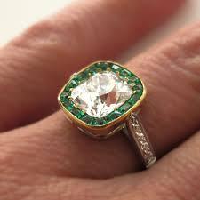 vintage emerald engagement rings vintage diamond and emerald engagement rings edwardian ct cushion
