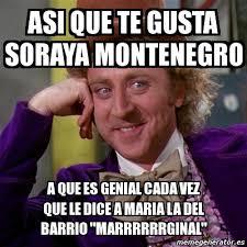 Memes Soraya Montenegro - meme willy wonka asi que te gusta soraya montenegro a que es