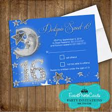 Party Invitations With Rsvp Cards U0026 Moon Sweet 16 Matching Rsvp Card