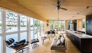 Whitewashed Wood Paneling Contemporary Prefab Cabin In Remote Quebec Employs Revolutionary