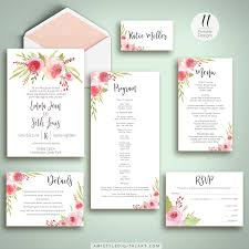 watercolor roses wedding invitation suite printable amistyle