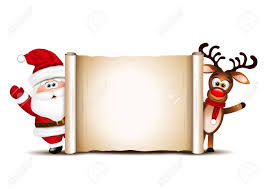 card design template santa claus and his reindeer