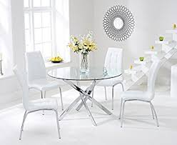 Glass Round Kitchen Table by Texas 110cm Glass Round Dining Table And White Chairs Set Amazon