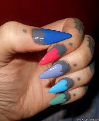 colorful heart stiletto nail design nail designs u0026 nail art