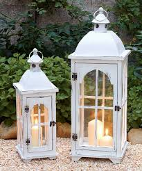 Outdoor Candle Lighting by White Lantern Candleholder Set