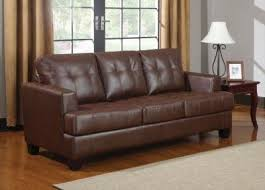Types Of Sleeper Sofas Brown Bonded Leather Tufted Sleeper Sofa By Coaster Furniture By
