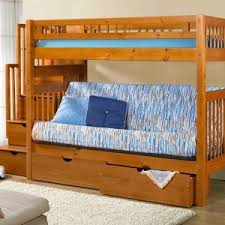 Wood Futon Bunk Bed Traditional Style Bedroom With Stairway Futon Bunk Beds And