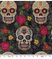 cotton fabric 43 sugar skulls and flowers joann