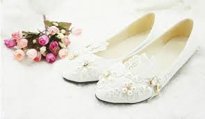 Flower Girls Dress Shoes - 2015 white lace flower wedding dress shoes woman flat shoes flower
