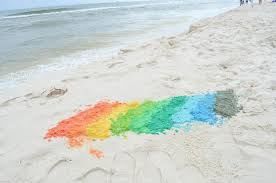 how to dye sand at the beach and make colorful sand castles