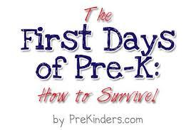 first days of pre k prekinders