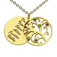 personalized family tree necklace birthstone family tree necklace gold color personalized
