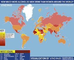 World Map Vietnam by Map How Much More Alcohol Do Men Drink Than Women Around The