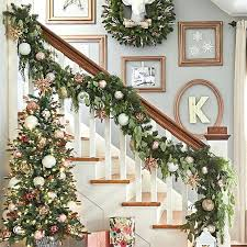 lighted christmas tree garland christmas tree garland ideas stairway with decorated garland on