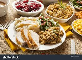 turkey thanksgiving dinner mashed potatoes stock photo