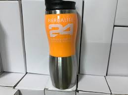 Best Stainless Steel Travel Mug by Orange Color Herbalife 24 Nutrition 15oz Insulated Coffee Travel