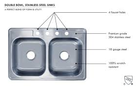 Kitchen Sink 33x22 by Stainless Steel Double Bowl Kitchen Sink 33